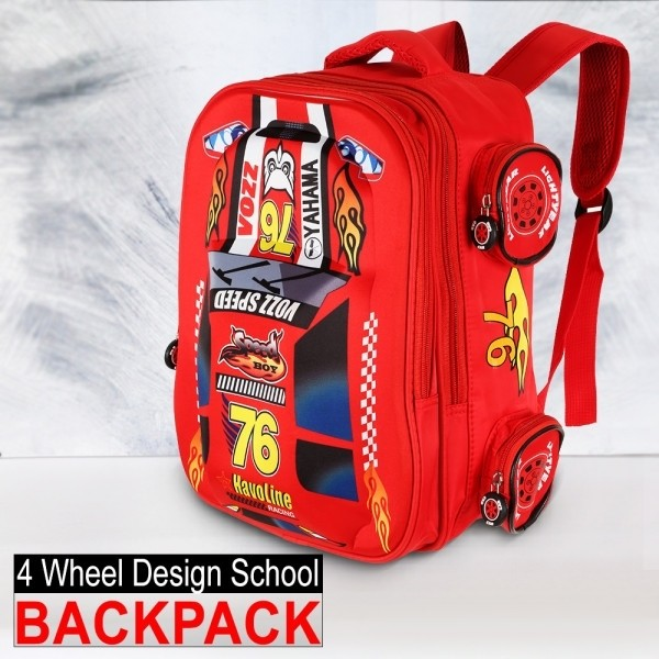4 Wheel Design School Backpack- Red