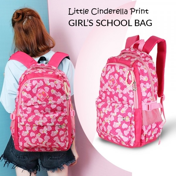 Little Cinderella Print Girls Backpack for School Red & Pink - GH 198