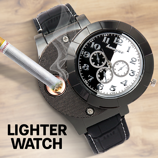 Huayue Male Quartz Watch LED Electronic Lighters for Cigarette