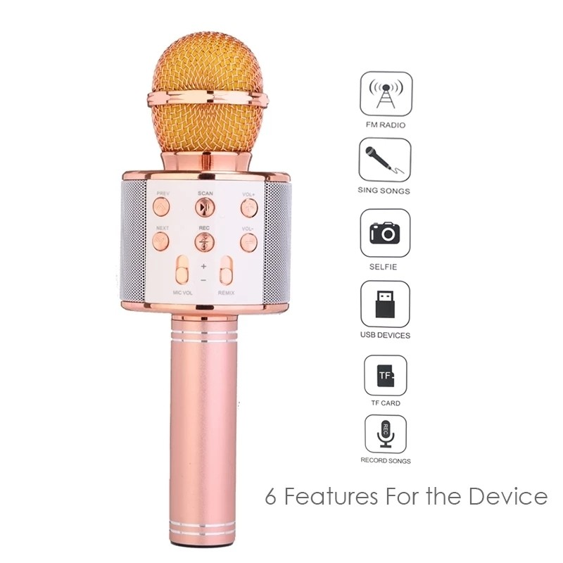 Wster Wireless Handheld Karaoke Bluetooth Microphone with MIC-WS-858