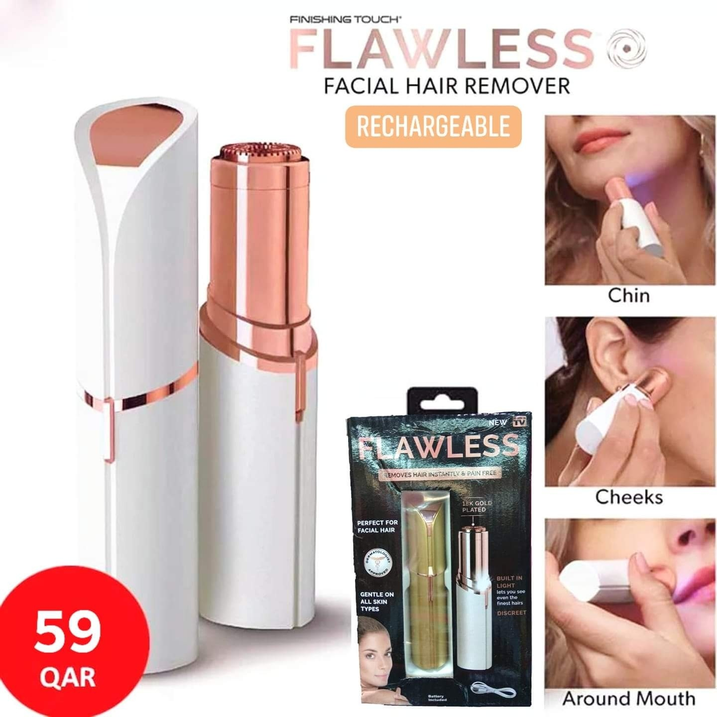 Flawless Facial Hair Eyebrow Remover - Rechargeable