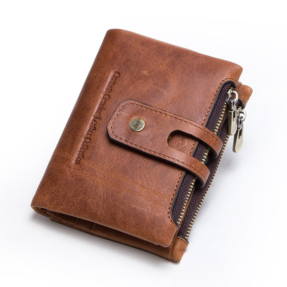 Genuine Leather Bifold vertical wallet with zip pocket for men (Brown)