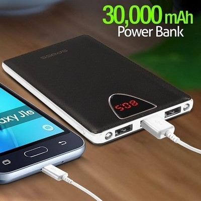 sPass Fast Charge 3 USB Port 30,000 mAh Power Bank With LCD For Smartphones & Tablets (K6), Black