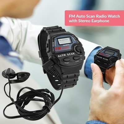 FM Auto Scan Radio Watch with Stereo Earphone