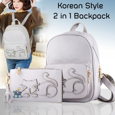Cute Cat Stich New Korean Style 2 in 1 Backpack - Silver