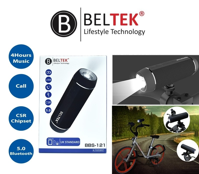 BELTEK  Bluetooth Speaker with Torch Light and Bike Mount -BBS121