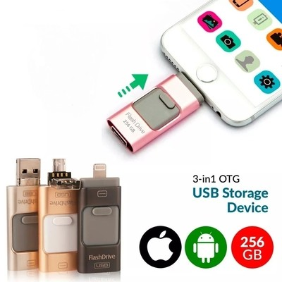 Universal Multi-Color 3 In1 i-Flash 256GB OTG USB Flash Drive For Android, iOS, Laptop & PC - VC5005