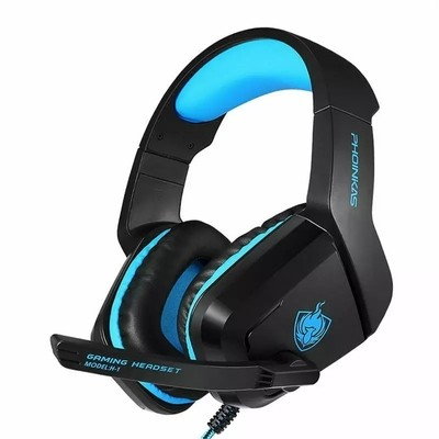 PHOINIKAS H1 Stereo Gaming Headset,Noise-Cancelling Headset,Bass Surround, Over Ear Headset,for PC,PS4,Xbox One, Mac, iPad, with Mic, LED Light,360 Switch Controller,Classic Version Headset (Blue)