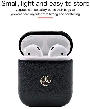 AirPods Leather Case Luxury Protective Cover and Skin Compatible with Apple Airpods (Mercedes-Logo)