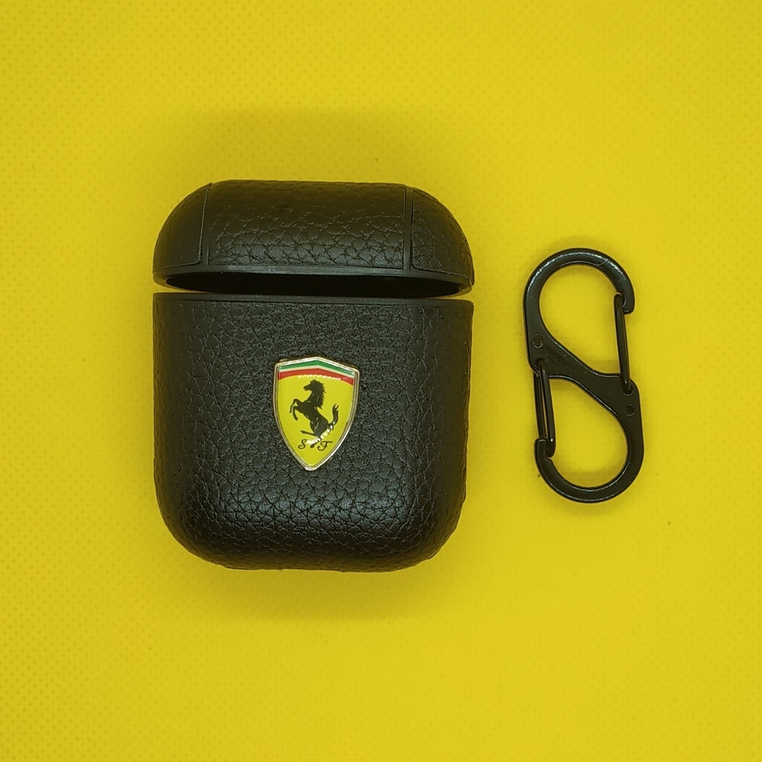 AirPods Leather Case Luxury Protective Cover and Skin Compatible with Apple Airpods (Ferrari - Logo)