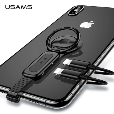 USAMS AU06 Lighting Dual Adapter & Ring Holder 3.5mm Audio&charger Adjust Phone Holder fast charging for iPhone iOS Adapter OTG