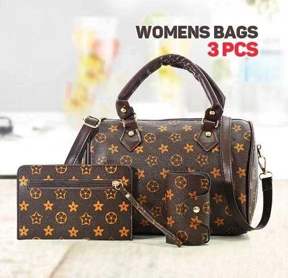Generic Luxury Print Womens Star Design Shoulder Bag Set of 3 Pieces, Brown
