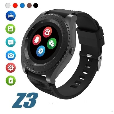 Sci-Tech Z3 Bluetooth Smart watch Built-in Camera Sports Watches Men Fitness Tracker Pedometer With Anti-Sweat Band Support SIM Card - BLACK