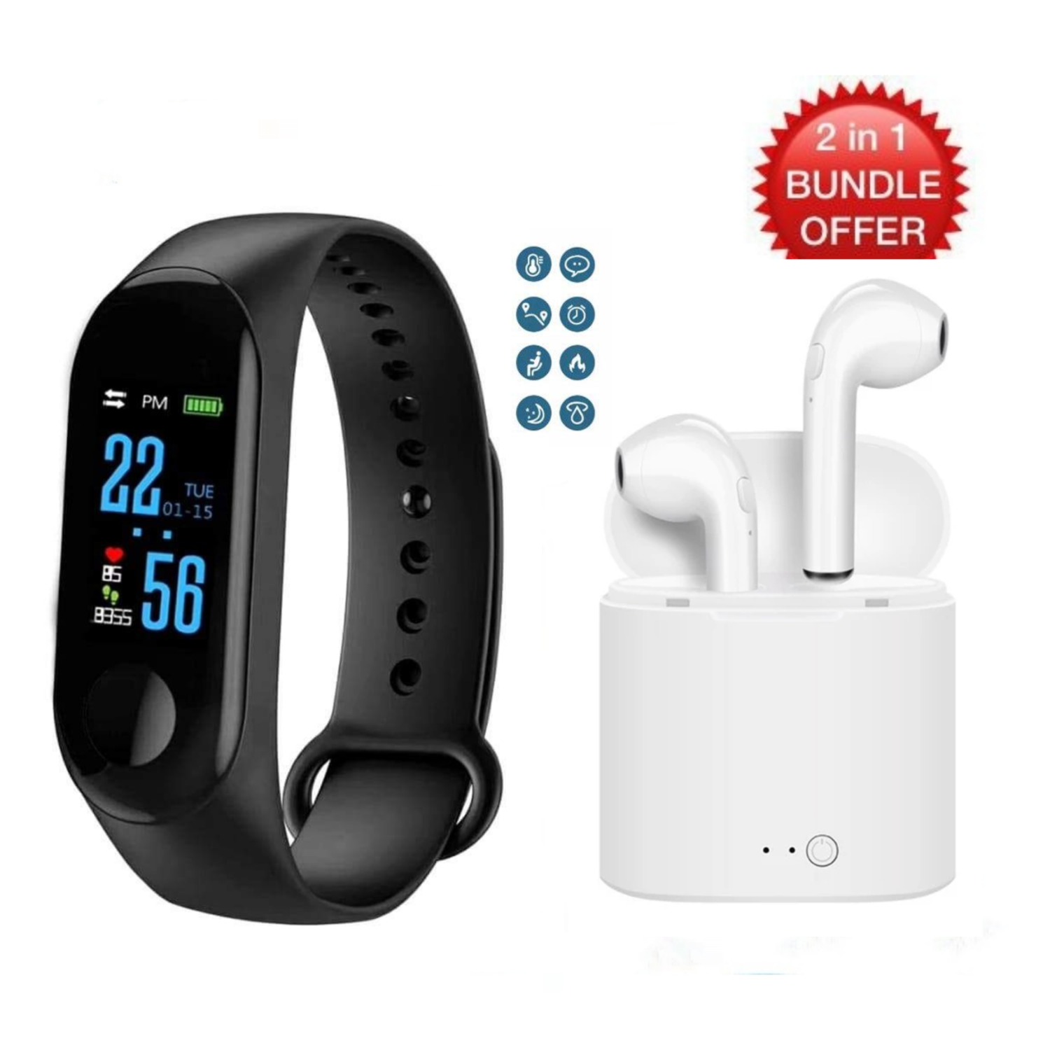 2 in 1 Bundle: M3 Smart Band with Health Tracker, Blood Pressure, Heart Rate etc + TWS Bluetooth Headset