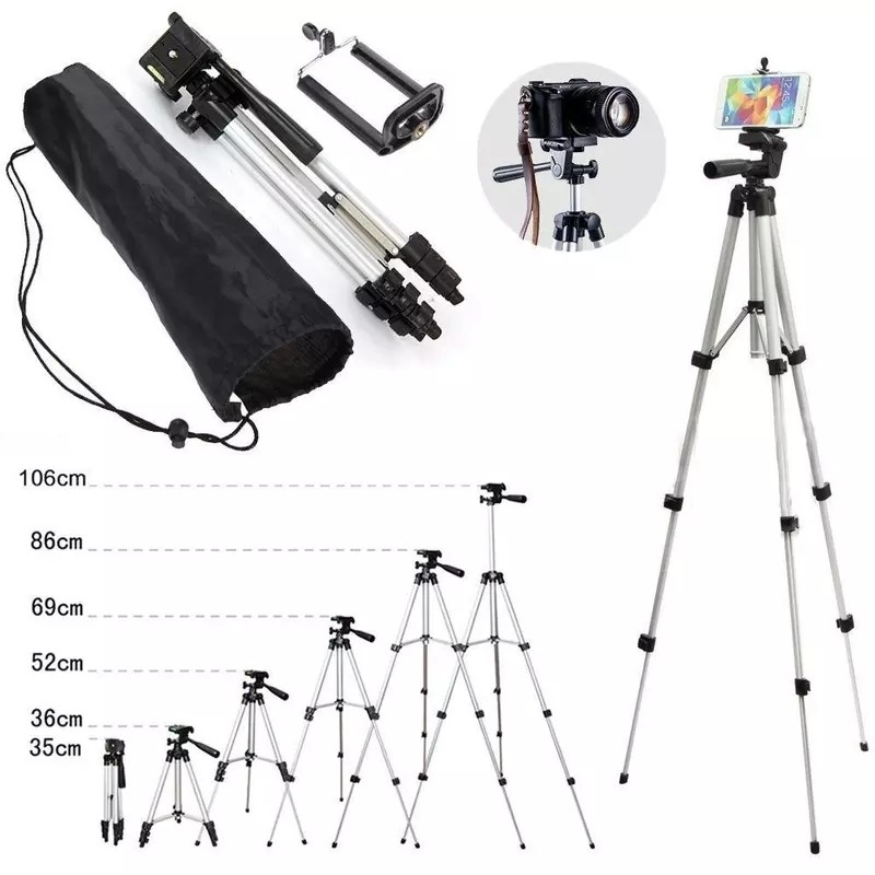 WT 3110 Lightweight Tripod with Adjustable-height legs Free Phone Holder with Bag