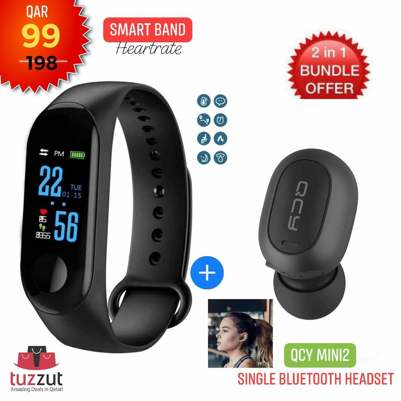 M3 Smart Band with Health Tracker, Blood Pressure, Heart Rate etc + QCY Mini2 Single Wireless Bluetooth Headset in-Ear Earphones Earbuds w/Mic (Black)
