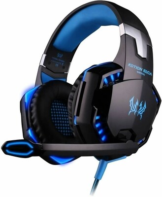 KOTION EACH G2000 Pro Gaming Headset with Mic Over-Ear Led Stereo Music Gaming Headphones Earphone for PS4, New Xbox One, Laptop Tablet Game - Blue-Black