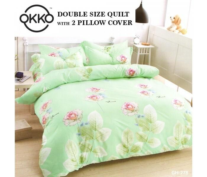 Okko OK33788 Elegant Double Size Quilt with 2 Pillow Cover Green ( 3pc Set)