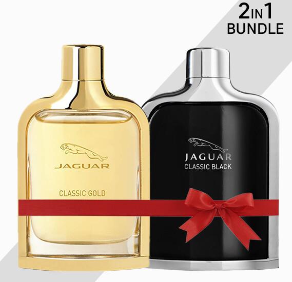 Jaguar Classic Black & Gold Edt Spray for Men, 100 ml each - 2 in 1 Bundle
