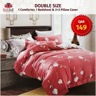First Quality Double Comforter with flat bedsheet, 4 pillow cases - Set of 6 Pieces (Dark Pink)