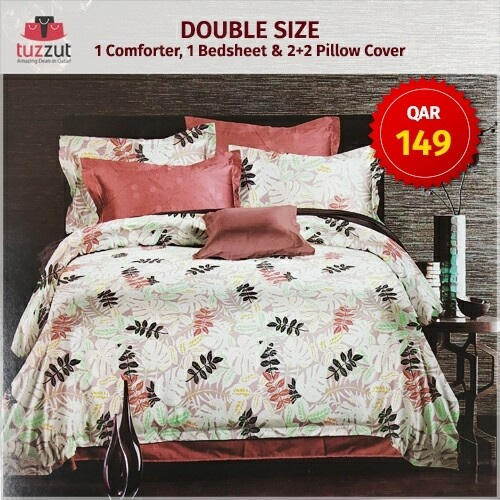 First Quality Double Comforter with flat bedsheet, 4 pillow cases - Set of 6 Pieces (Maroon White)