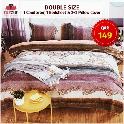 First Quality Double Comforter with flat bedsheet, 4 pillow cases - Set of 6 Pieces (White Pink)