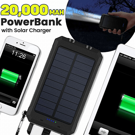 Gpower 20,000 mAh Portable Shockproof Solar Charger Dual USB External Battery PowerBank (GS-02), Assorted Color