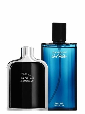 Bundle for Men: Jaguar Classic Black for Men, edT 100ml by Jaguar + Cool Water for Men, edT 125ml by Davidoff