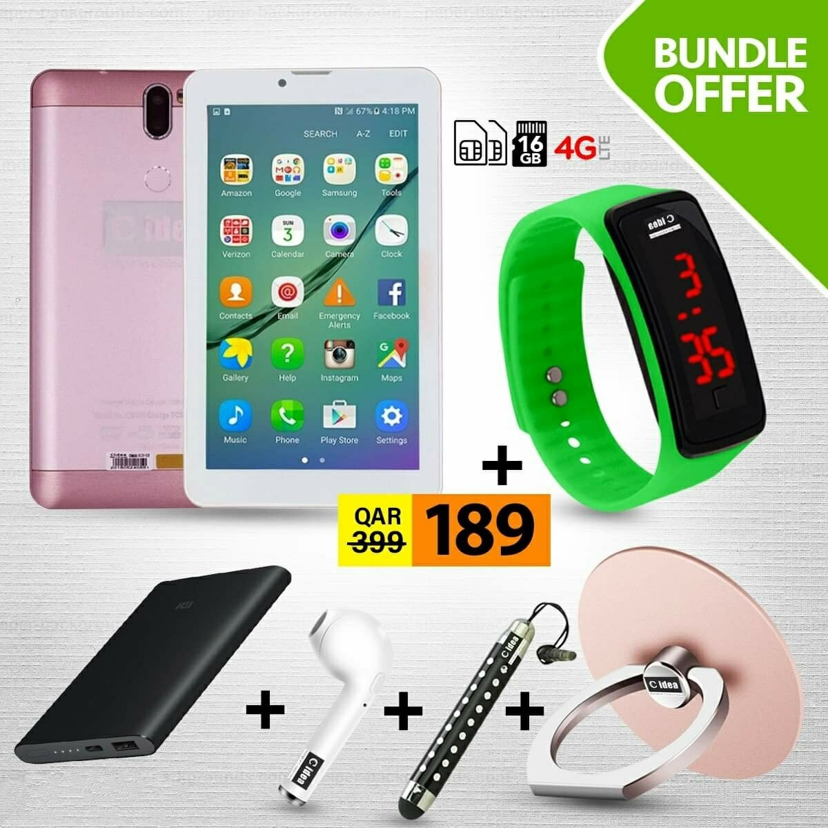 C idea CM499 7 Inch Dual Sim 1GB RAM 16GB 4G LTE Tablet + Power Bank + Earpod + Finger Holder + Touch Pen + LED Watch