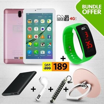 C idea CM499 7 Inch Dual Sim 1GB RAM 16GB 4G LTE Tablet + Power Bank + Earpod + Finger Holder + Touch Pen + LED Watch