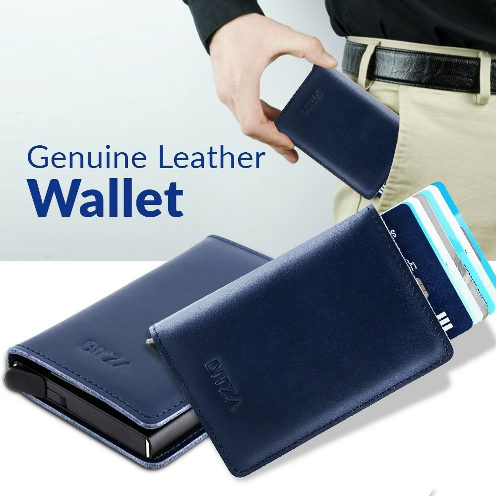 Bitza Ultra Slim Genuine Leather Card Holder Wallet with Button and RFID Protection - Blue