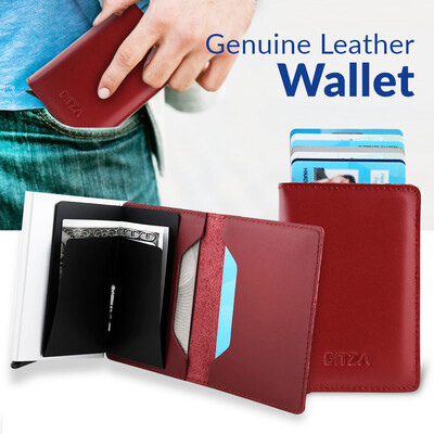 Bitza Ultra Slim Genuine Leather Card Holder Wallet with Button and RFID Protection