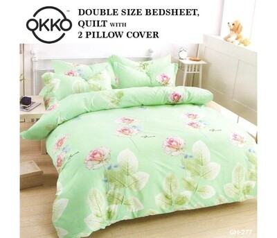 OKKO Elegant Double Size Bedsheet, Quilt And 2 Pillow Covers (4 pc set) GH 277 - Green