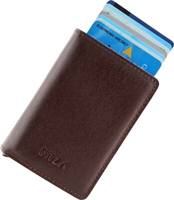 Bitza Ultra Slim Genuine Leather Card Holder Wallet with RFID Protection - Dark Brown