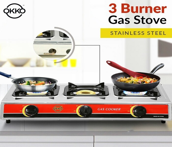 Okko 3 Burner Gas Stove With Auto Ignition - Red & Silver