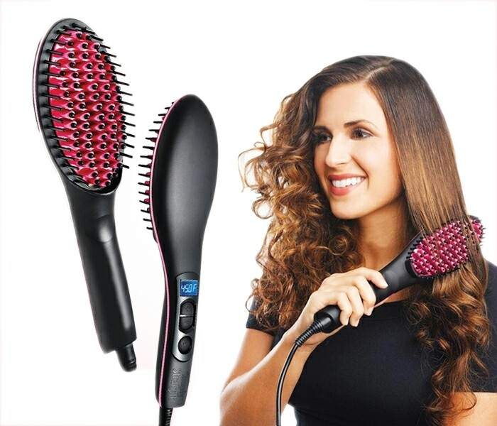 Hair Straightening Brush Ceramic