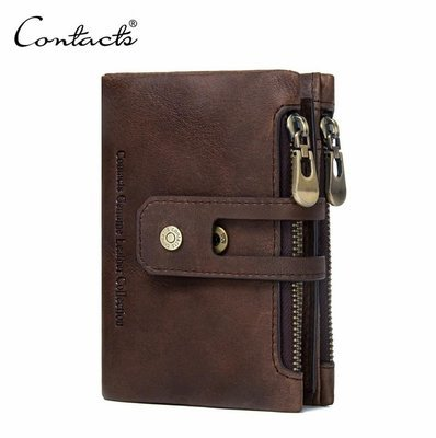 Genuine Leather Bifold vertical wallet with zip pocket for men