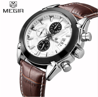 MEGIR Men Quartz Genuine Leather Chronograph Watch (Brown)