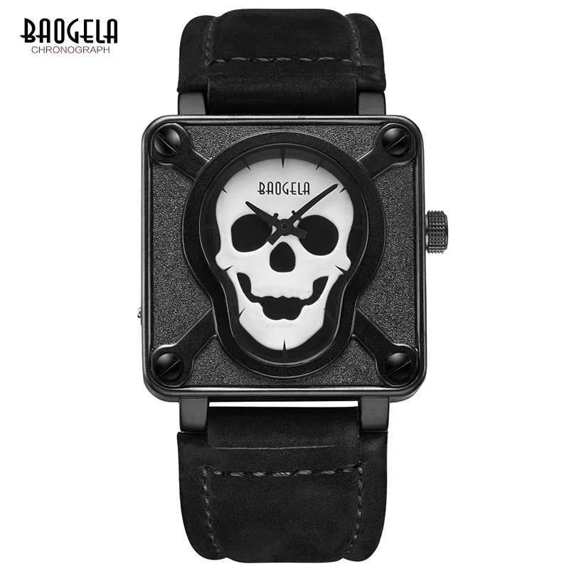 Baogela Skull Leather Strap Square Dial Quartz Wrist Men's Watch with Luminous - BGL1701 (Black)