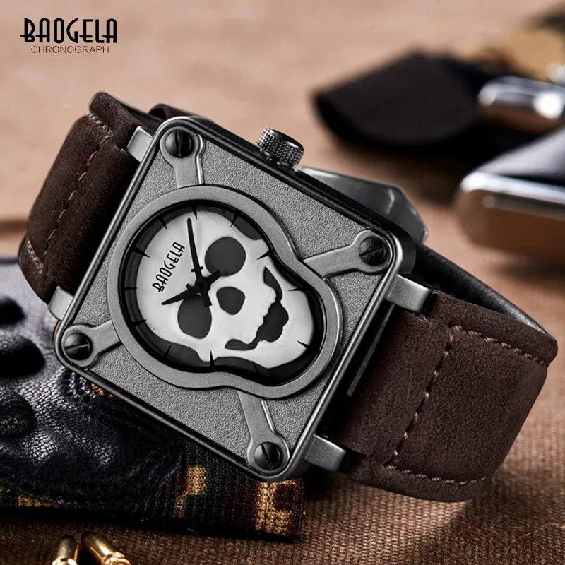 Baogela Skull Leather Strap Square Dial Quartz Wrist Men's Watch with Luminous - BGL1701 (Brown)