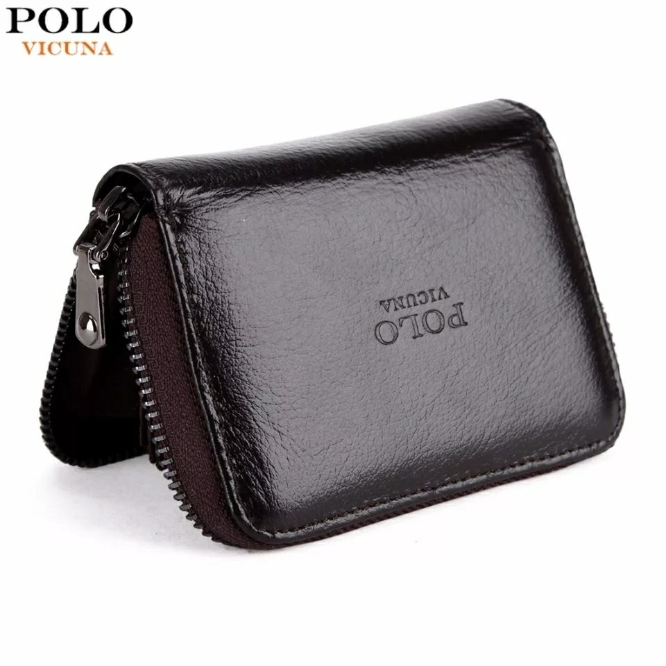 VICUNA POLO Genuine Leather Card Holder Zipper Open Cowhide Credit Card Holder Wallet