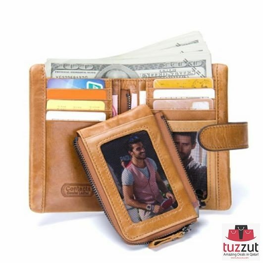 Genuine Cowhide Leather Trifold Mens Wallet (N1103)