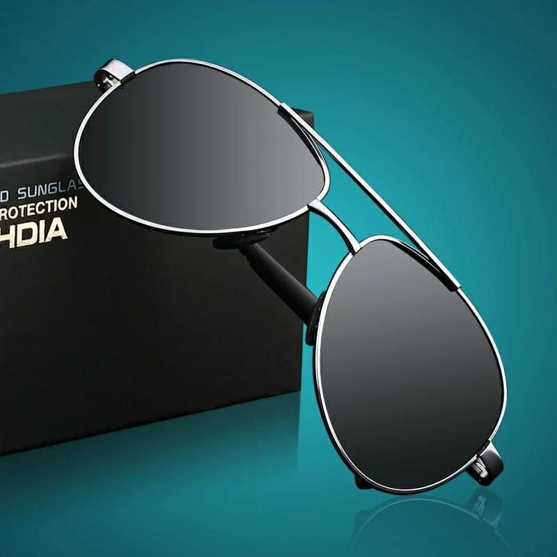 VEITHDIA Brand Men's Polarized Sunglasses - 1306  (Black-Silver)