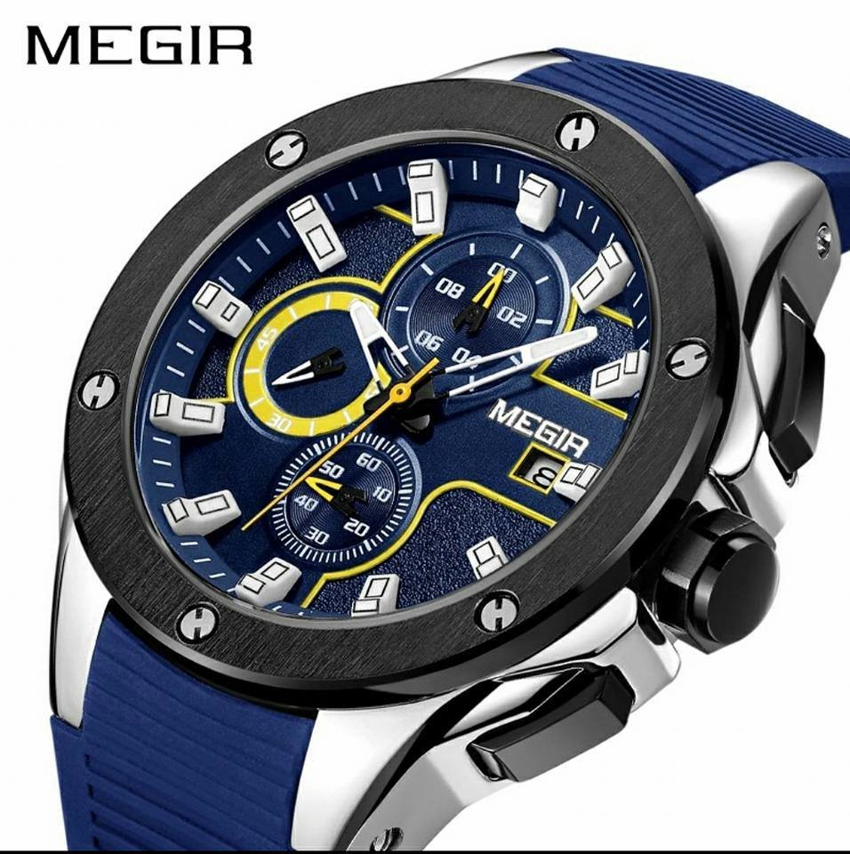 MEGIR Men Luxury Sport Chronograph Silicone Strap Quartz Army Watch 2053 (Blue)