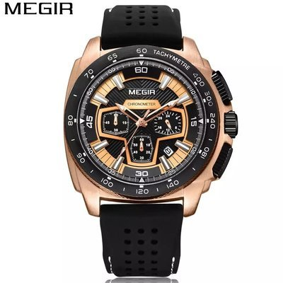 MEGIR Men's Casual Luxury Silicone Band Military Chronograph Sport Watch