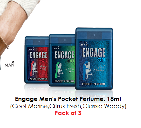 Engage Men's Pocket Perfume, 18ml (Cool Marine,Citrus Fresh,Classic Woody) - Pack of 3