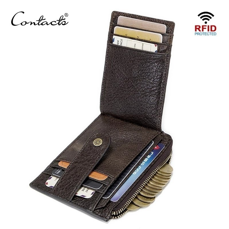 RFID Blocking Genuine Leather Mini Money Clip Card Coin Holder Purse Wallet - Model 1019