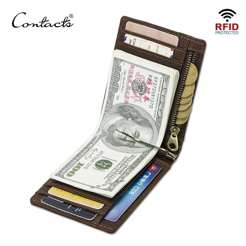High quality RFID Genuine Leather Money Clip Thin Bifold Card Wallet  With Zipper Coin Pocket - (Model: 1020)
