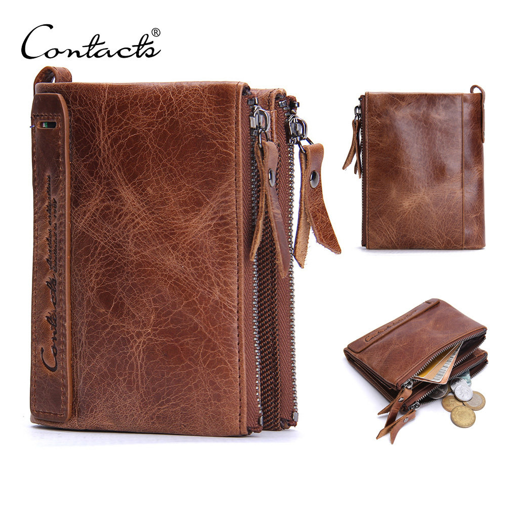 Contacts Mens Genuine Leather Bifold Wallet Double Zipper Pocket Wallet Purse (N0029)
