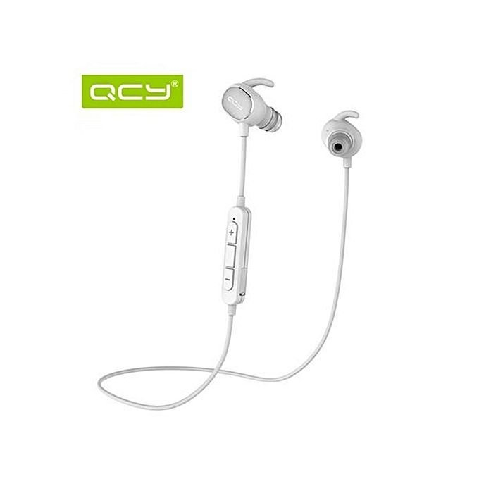 QCY QY19 Wireless Sport Headset Ultra Lightweight Bluetooth 4.1 CVC 6.0 Noise Cancelling IPX4 Sweatproof (White)